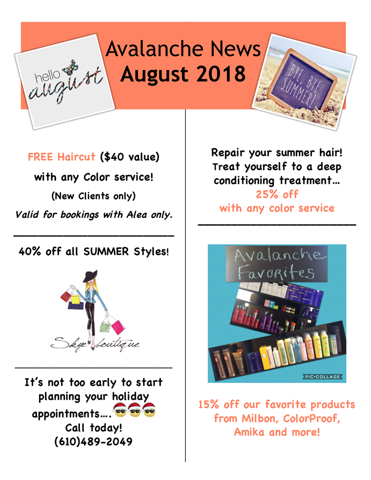 August Specials Avalanche Salon Spa